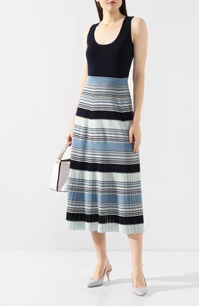 Женская юбка из смеси шелка и хлопка LORO PIANA синего цвета, арт. FAI9429 | Фото 2
