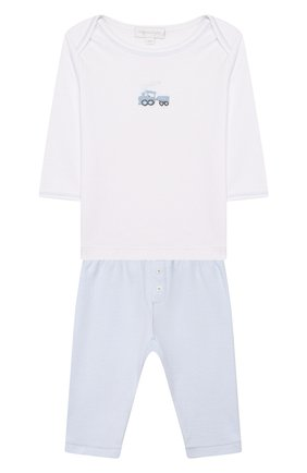 Детский комплект из лонгслива и брюк tiny choo choo MAGNOLIA BABY синего цвета, арт. 569-27-LB | Фото 1