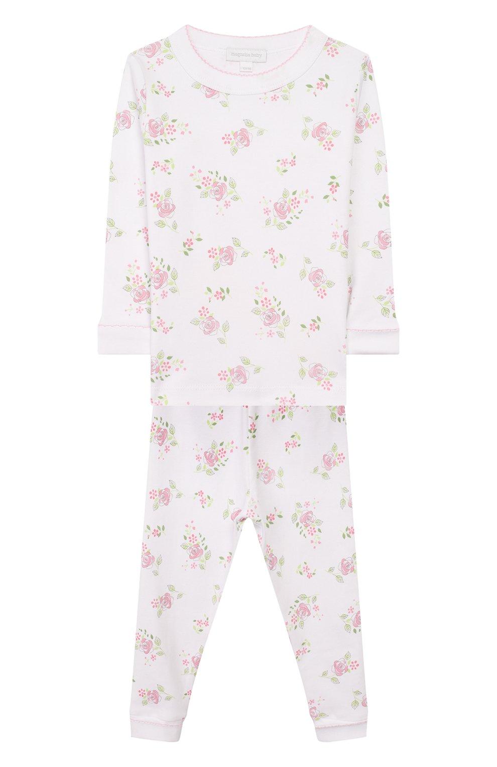 Детский пижама hope's roses essentials MAGNOLIA BABY розового цвета, арт. E105-LP-PK   Фото 1 (Рукава: Длинные; Материал внешний: Хлопок)