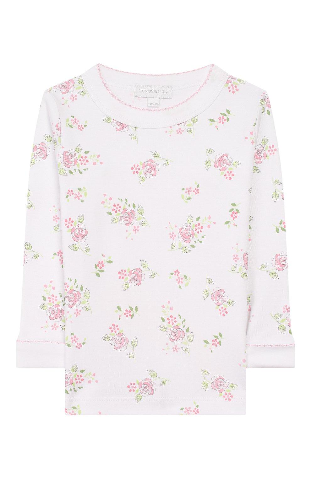 Детский пижама hope's roses essentials MAGNOLIA BABY розового цвета, арт. E105-LP-PK   Фото 2 (Рукава: Длинные; Материал внешний: Хлопок)
