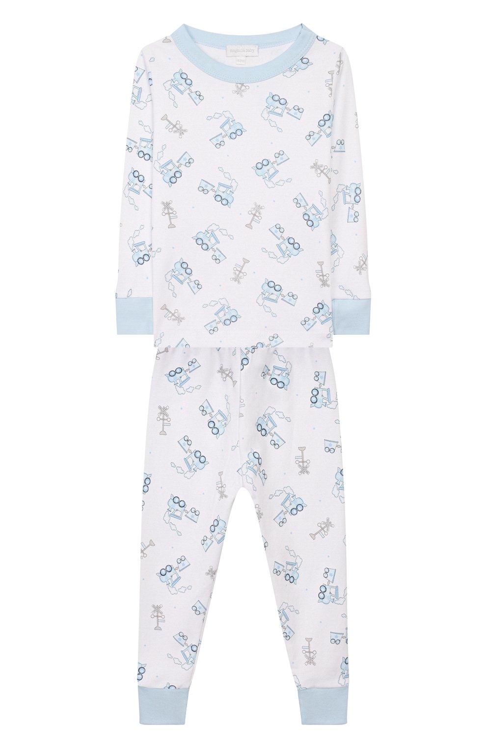 Детский пижама tiny choo choo MAGNOLIA BABY голубого цвета, арт. 569-LP-LB | Фото 1