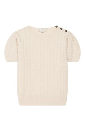 Детский кашемировый пуловер OSCAR ET VALENTINE бежевого цвета, арт. PUL05M | Фото 1