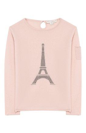 Детский кашемировый пуловер OSCAR ET VALENTINE розового цвета, арт. PUL01EIFFELM | Фото 1