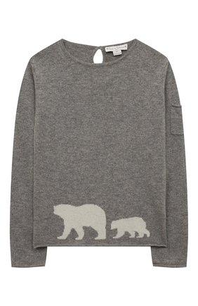 Детский кашемировый пуловер OSCAR ET VALENTINE серого цвета, арт. PUL01BEARM | Фото 1
