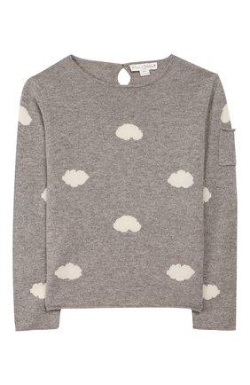 Детский кашемировый пуловер OSCAR ET VALENTINE серого цвета, арт. PUL01CLOUDM | Фото 1