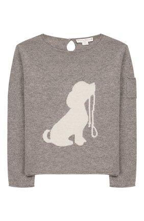 Детский кашемировый пуловер OSCAR ET VALENTINE серого цвета, арт. PUL01DOGM | Фото 1