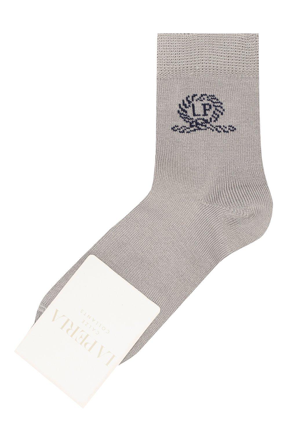 Детские хлопковые носки LA PERLA серого цвета, арт. 42035/3-6   Фото 1