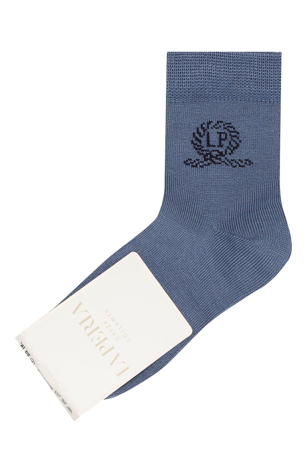 Детские хлопковые носки LA PERLA синего цвета, арт. 42035/1-2 | Фото 1 (Материал: Текстиль, Хлопок)