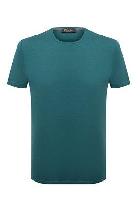 Мужская футболка из шелка и хлопка LORO PIANA зеленого цвета, арт. FAF6128 | Фото 1 (Материал внешний: Хлопок, Шелк; Принт: Без принта; Длина (для топов): Стандартные; Рукава: Короткие; Стили: Кэжуэл; Статус проверки: Проверена категория)