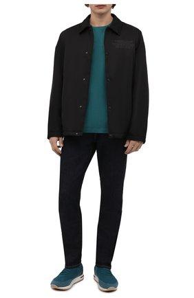 Мужская футболка из шелка и хлопка LORO PIANA зеленого цвета, арт. FAF6128 | Фото 2 (Материал внешний: Хлопок, Шелк; Принт: Без принта; Длина (для топов): Стандартные; Рукава: Короткие; Стили: Кэжуэл; Статус проверки: Проверена категория)