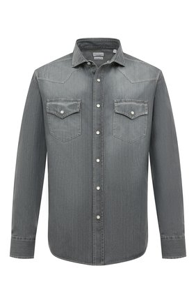 Мужская джинсовая рубашка BRUNELLO CUCINELLI серого цвета, арт. ML6304008 | Фото 1
