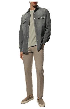 Мужская джинсовая рубашка BRUNELLO CUCINELLI серого цвета, арт. ML6304008 | Фото 2