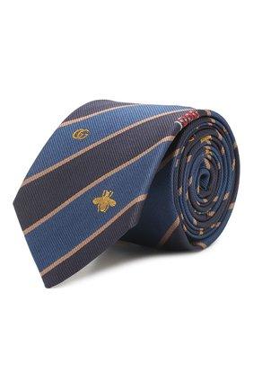 Мужской шелковый галстук GUCCI синего цвета, арт. 545077/4E002 | Фото 1