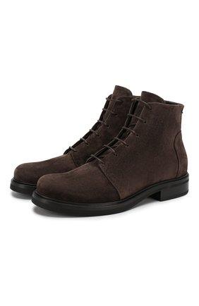 Мужские замшевые ботинки GIORGIO ARMANI темно-коричневого цвета, арт. X2M308/XC854 | Фото 1 (Подошва: Плоская; Материал внутренний: Натуральная кожа; Мужское Кросс-КТ: Ботинки-обувь)