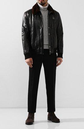 Мужские замшевые ботинки GIORGIO ARMANI темно-коричневого цвета, арт. X2M308/XC854 | Фото 2 (Подошва: Плоская; Материал внутренний: Натуральная кожа; Мужское Кросс-КТ: Ботинки-обувь)