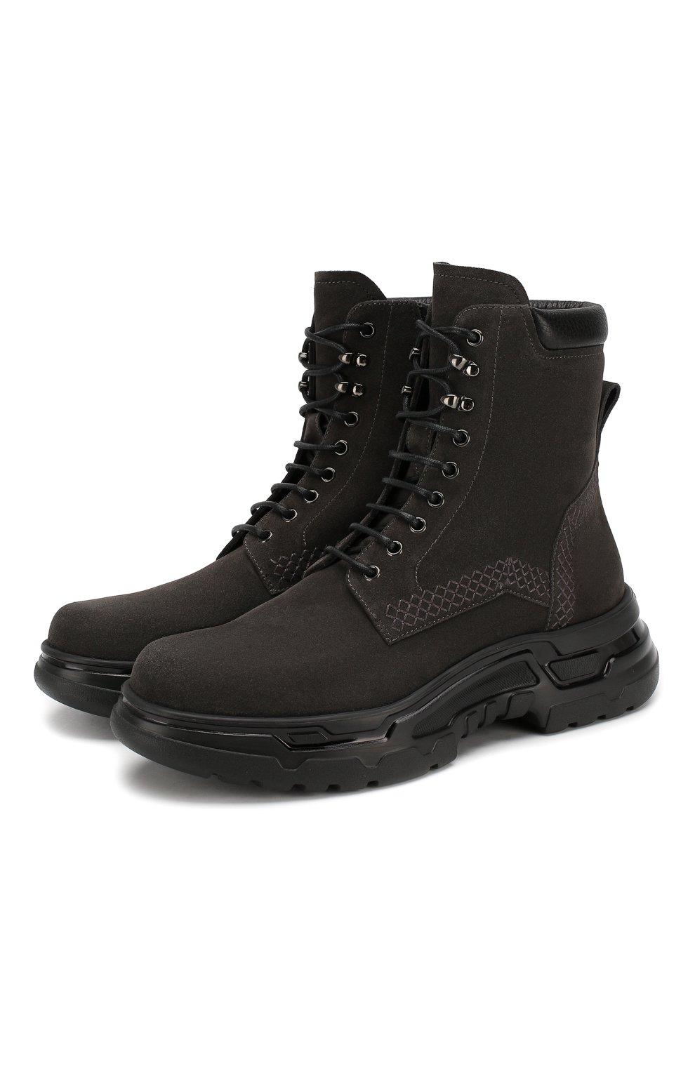 Мужские замшевые ботинки GIORGIO ARMANI темно-серого цвета, арт. X2M312/XM181   Фото 1