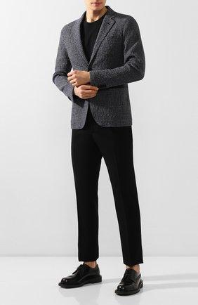 Мужские кожаные дерби GIORGIO ARMANI темно-синего цвета, арт. X2C630/XF294   Фото 2