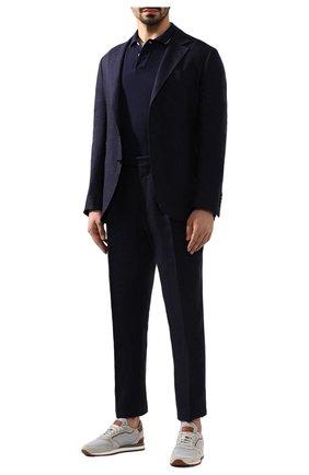 Мужское хлопковое поло BRUNELLO CUCINELLI темно-синего цвета, арт. M0T639779G | Фото 2