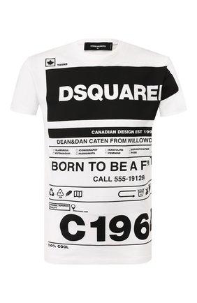 Мужская хлопковая футболка DSQUARED2 черно-белого цвета, арт. S74GD0697/S22427 | Фото 1