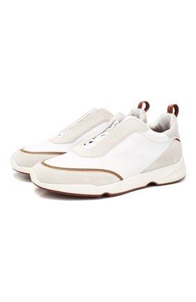 Мужские комбинированные кроссовки modular walk LORO PIANA белого цвета, арт. FAL0332 | Фото 1