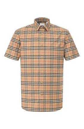 Мужская хлопковая рубашка BURBERRY бежевого цвета, арт. 8020965 | Фото 1
