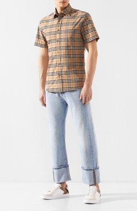 Мужская хлопковая рубашка BURBERRY бежевого цвета, арт. 8020965 | Фото 2