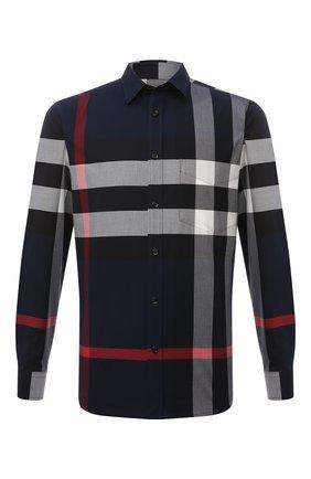 Мужская хлопковая рубашка BURBERRY синего цвета, арт. 8018111 | Фото 1