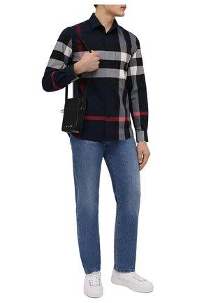 Мужская хлопковая рубашка BURBERRY синего цвета, арт. 8018111 | Фото 2