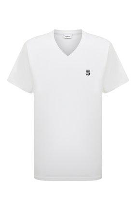 Мужская хлопковая футболка BURBERRY белого цвета, арт. 8017258 | Фото 1