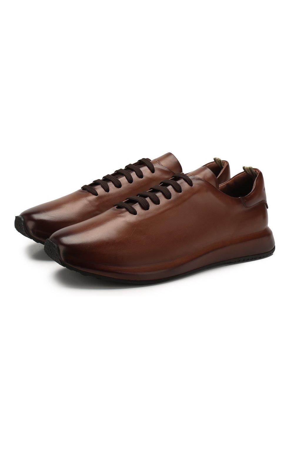 Мужские кожаные кроссовки OFFICINE CREATIVE коричневого цвета, арт. RACE/017/AER0 BUTTER0   Фото 1 (Материал внутренний: Натуральная кожа; Стили: Классический; Подошва: Массивная; Статус проверки: Проверена категория)