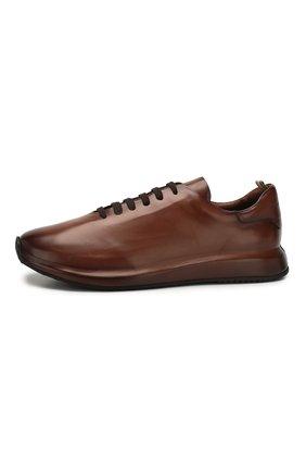 Мужские кожаные кроссовки OFFICINE CREATIVE коричневого цвета, арт. RACE/017/AER0 BUTTER0   Фото 3 (Материал внутренний: Натуральная кожа; Стили: Классический; Подошва: Массивная; Статус проверки: Проверена категория)