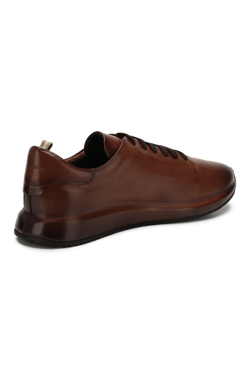 Мужские кожаные кроссовки OFFICINE CREATIVE коричневого цвета, арт. RACE/017/AER0 BUTTER0   Фото 4 (Материал внутренний: Натуральная кожа; Стили: Классический; Подошва: Массивная; Статус проверки: Проверена категория)