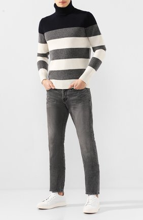 Мужские кожаные кеды SANTONI белого цвета, арт. MBC021279BARGDFRI50 | Фото 2