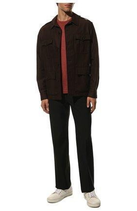Мужская шелковая футболка ANDREA CAMPAGNA красного цвета, арт. 60133/78301 | Фото 2