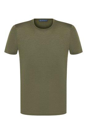 Мужская шелковая футболка ANDREA CAMPAGNA зеленого цвета, арт. 60133/78301 | Фото 1