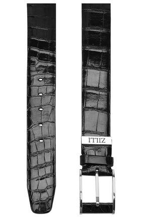 Мужской ремень из кожи крокодила ZILLI черного цвета, арт. MJL-CLAQE-01011/0068/AMIS | Фото 2