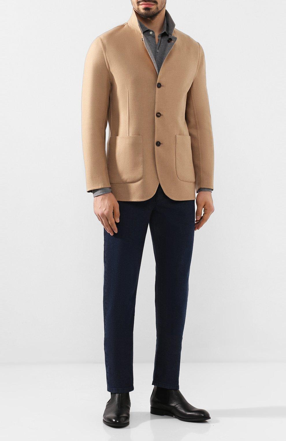 Мужской двусторонний кашемировый пиджак BRUNELLO CUCINELLI бежевого цвета, арт. MN4719920   Фото 2