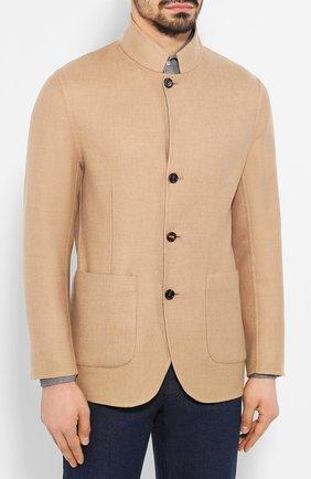Мужской двусторонний кашемировый пиджак BRUNELLO CUCINELLI бежевого цвета, арт. MN4719920   Фото 3