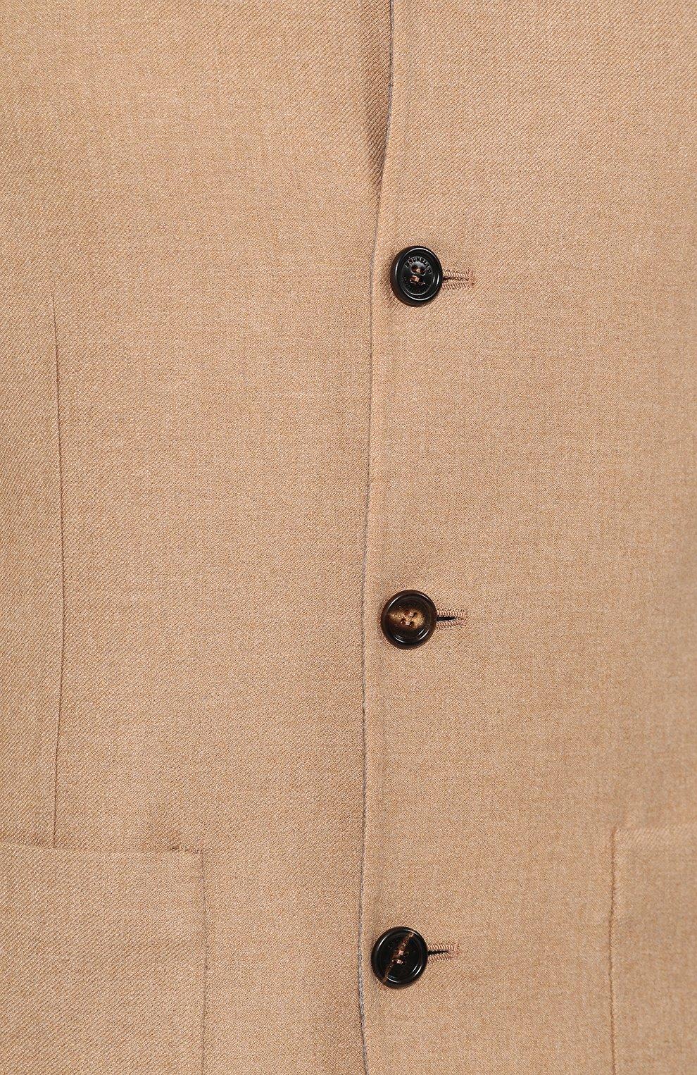 Мужской двусторонний кашемировый пиджак BRUNELLO CUCINELLI бежевого цвета, арт. MN4719920   Фото 5