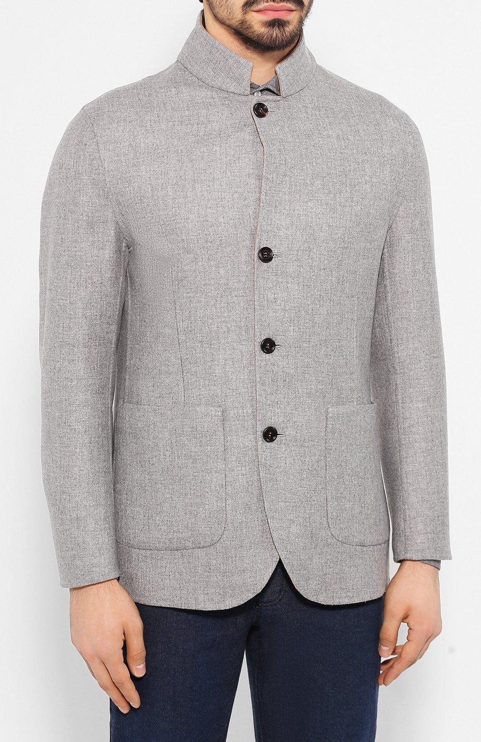 Мужской двусторонний кашемировый пиджак BRUNELLO CUCINELLI бежевого цвета, арт. MN4719920   Фото 6