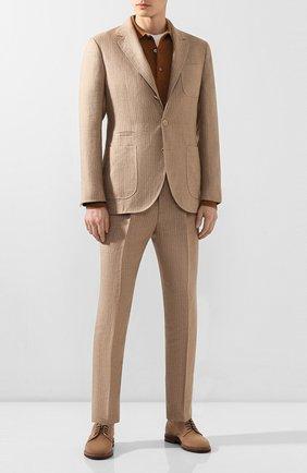 Мужской льняной костюм BRUNELLO CUCINELLI бежевого цвета, арт. MW432LDN6   Фото 1