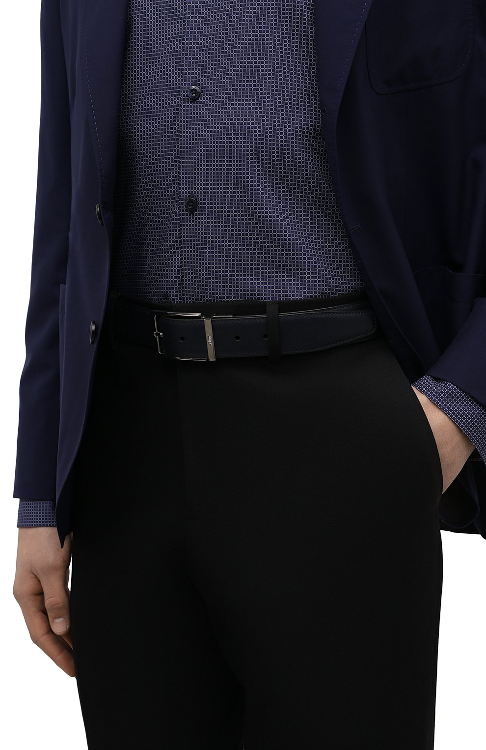 Мужской кожаный ремень BRIONI темно-синего цвета, арт. 0BAQ0L/P9721 | Фото 2