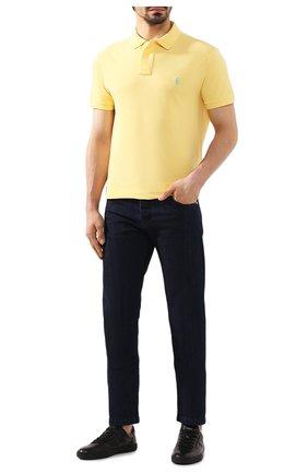 Мужское хлопковое поло POLO RALPH LAUREN желтого цвета, арт. 710795080   Фото 2
