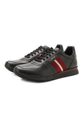 Мужские кожаные кроссовки BALLY черного цвета, арт. ASTEL-F0/510 | Фото 1 (Материал внутренний: Натуральная кожа; Подошва: Массивная; Статус проверки: Проверена категория; Стили: Классический)
