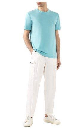 Мужские брюки из смеси льна и хлопка GIORGIO ARMANI белого цвета, арт. 0SGPP09X/T01FI   Фото 2 (Материал внешний: Лен; Случай: Повседневный)