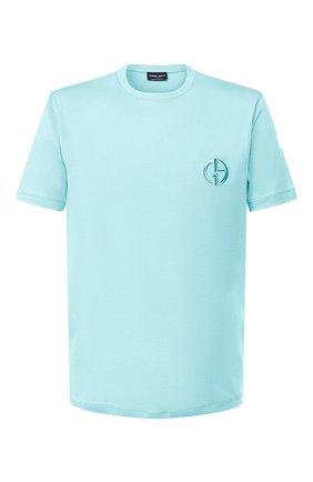 Мужская хлопковая футболка GIORGIO ARMANI голубого цвета, арт. 3HST62/SJKRZ | Фото 1