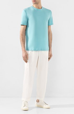 Мужская хлопковая футболка GIORGIO ARMANI голубого цвета, арт. 3HST62/SJKRZ | Фото 2