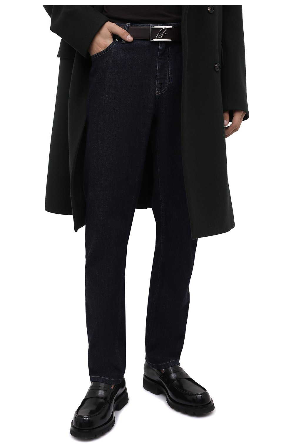 Мужской кожаный ремень BRIONI черного цвета, арт. 0BAP0L/P9721 | Фото 2