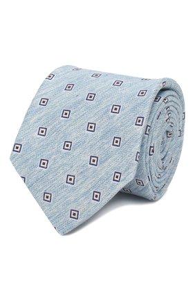 Мужской галстук из смеси льна и шелка KITON светло-голубого цвета, арт. UCRVKLC02G88 | Фото 1