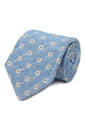 Мужской галстук из смеси льна и шелка KITON синего цвета, арт. UCRVKLC02G88 | Фото 1